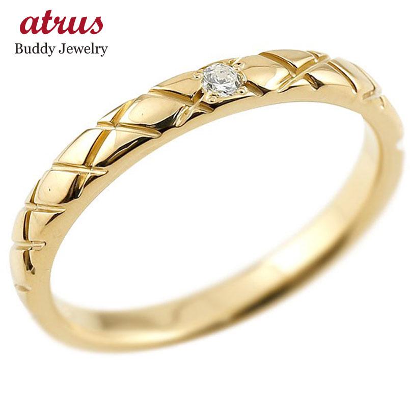 メンズ イエローゴールドk18 ピンキーリング ダイヤモンド18金 k18 アンティーク ストレート チェック柄 指輪 ダイヤリング 送料無料