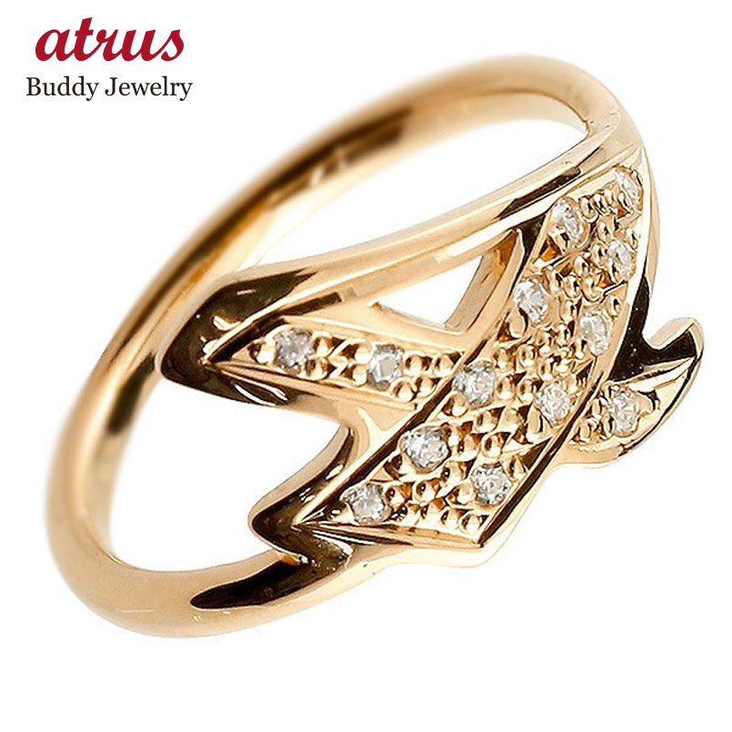 メンズ ピンキーリング キュービックジルコニア ナンバー4 ピンクゴールドk10 10金 リング 指輪 数字 ストレート 男性 送料無料