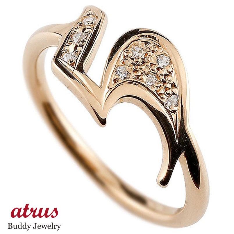 メンズ ピンキーリング ダイヤモンド ナンバー5 ピンクゴールドk10 10金 リング 指輪 数字 ストレート 男性 送料無料