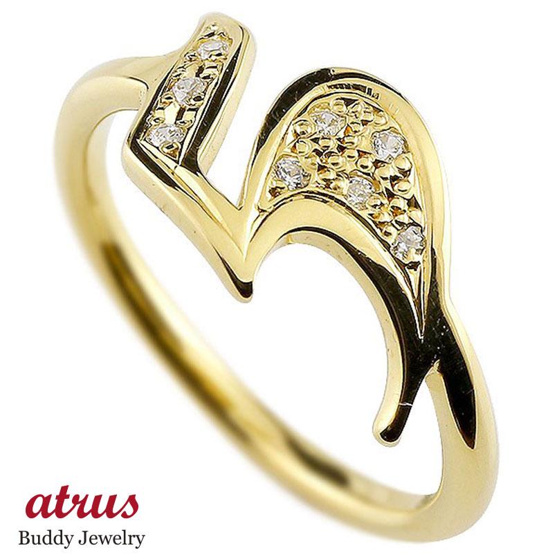 メンズ ピンキーリング キュービックジルコニア ナンバー5 イエローゴールドk18 18金 リング 指輪 数字 ストレート 男性 送料無料 父の日