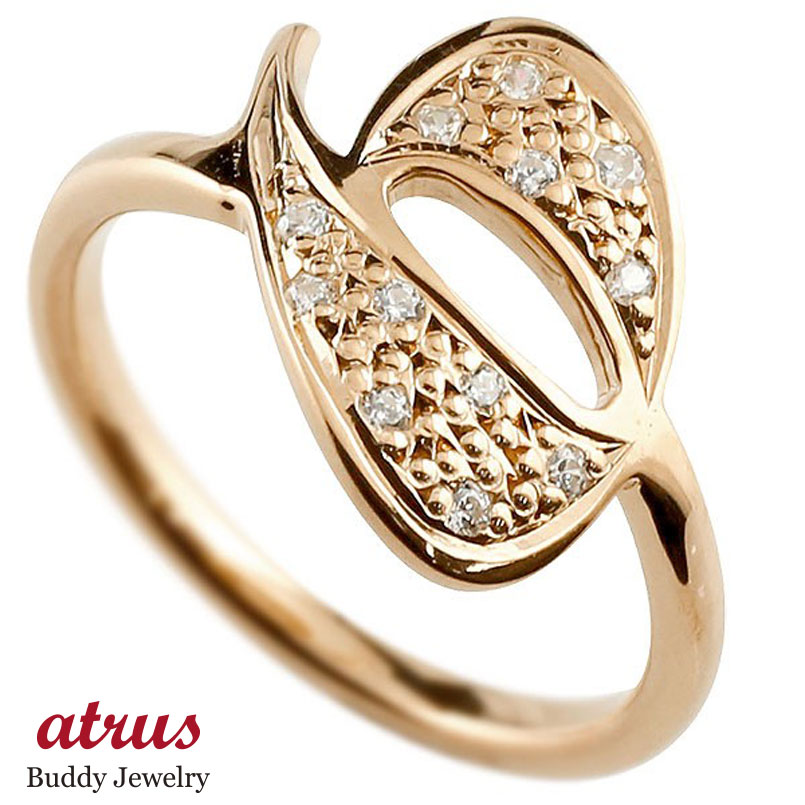 指輪 数字 ナンバー ピンクゴールド シンプル メンズ ピンキーリング ダイヤモンド ナンバー6 ピンクゴールドk18 18金 リング 指輪 数字 ストレート 男性 送料無料