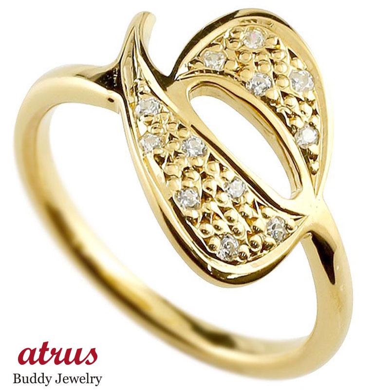 メンズ ピンキーリング ダイヤモンド ナンバー6 イエローゴールドk18 18金 リング 指輪 数字 ストレート 男性 送料無料