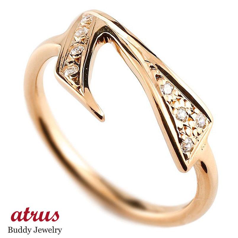 メンズ ピンキーリング ダイヤモンド ナンバー7 ピンクゴールドk10 10金 リング 指輪 数字 ストレート 男性 送料無料