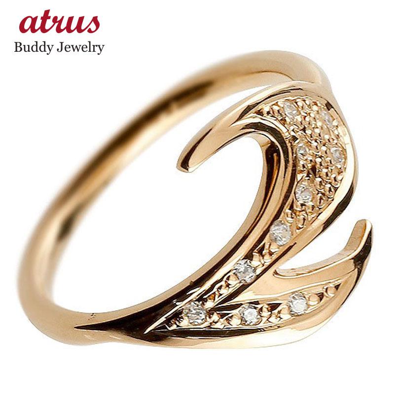 メンズ ピンキーリング ダイヤモンド ナンバー2 ピンクゴールドk18 18金 リング 指輪 数字 ストレート 男性 送料無料