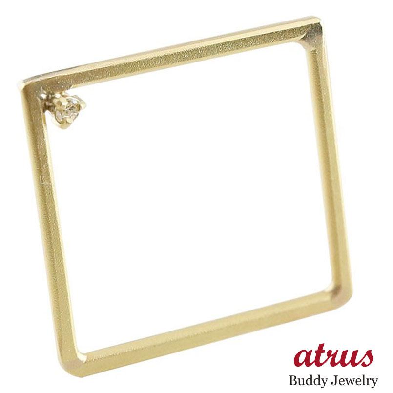 メンズ リング ダイヤモンド スクエア イエローゴールドk18 指輪 四角 ホーニング 送料無料