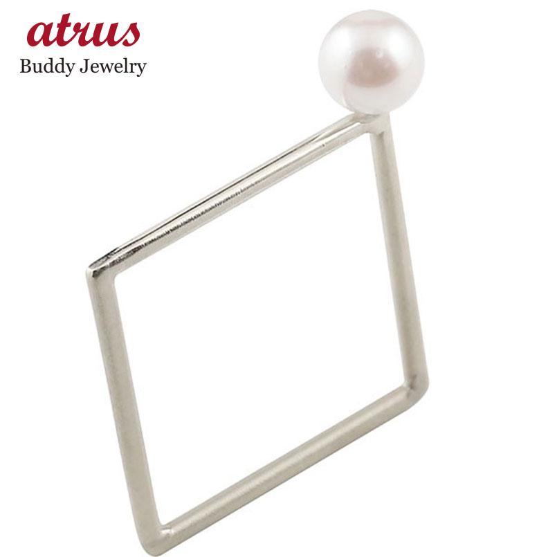 メンズ リング アコヤパール スクエア ホワイトゴールドk18 18金 真珠 フォーマル 指輪 四角 ホーニング 送料無料