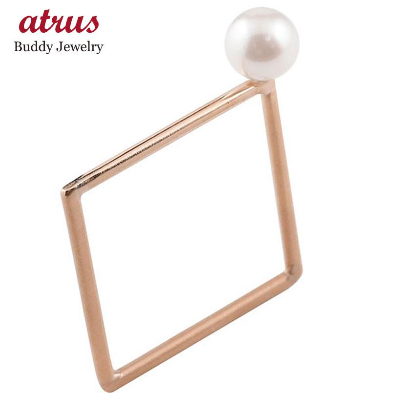 メンズ リング アコヤパール スクエア ピンクゴールドk18 18金 真珠 フォーマル 指輪 四角 ホーニング 送料無料 父の日