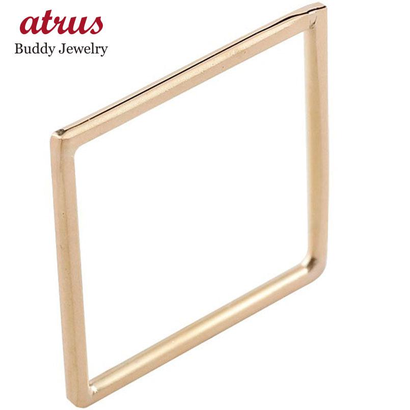 メンズ リング スクエア ピンクゴールドk18 18金 宝石なし 地金リング 指輪 四角 ホーニング 送料無料