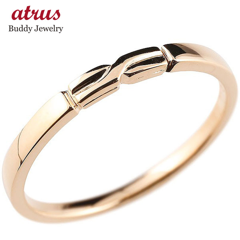 メンズ エンゲージリング ピンクゴールドk18 結び リング ピンキーリング 指輪 18金 華奢 ストレート 地金 送料無料