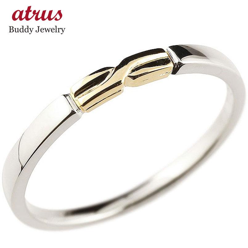 メンズ プラチナ エンゲージリング イエローゴールドk10 結び リング ピンキーリング 指輪 pt900 華奢 ストレート 地金 10金 コンビ 送料無料