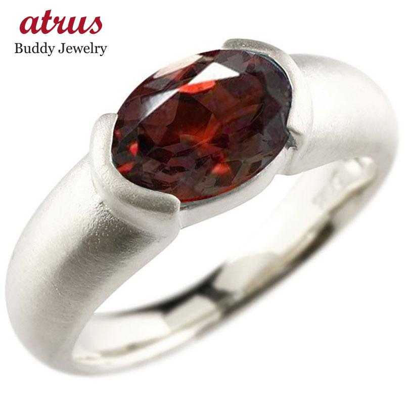 メンズ ピンキーリング ホワイトゴールドk10 大粒 一粒 ガーネット リング ピンキーリング 10金 指輪 婚約指輪 エンゲージリング 送料無料 父の日