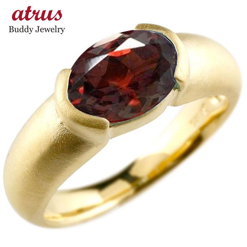 メンズ ピンキーリング イエローゴールドk10 大粒 一粒 ガーネット リング ピンキーリング 10金 指輪 婚約指輪 エンゲージリング 送料無料 父の日