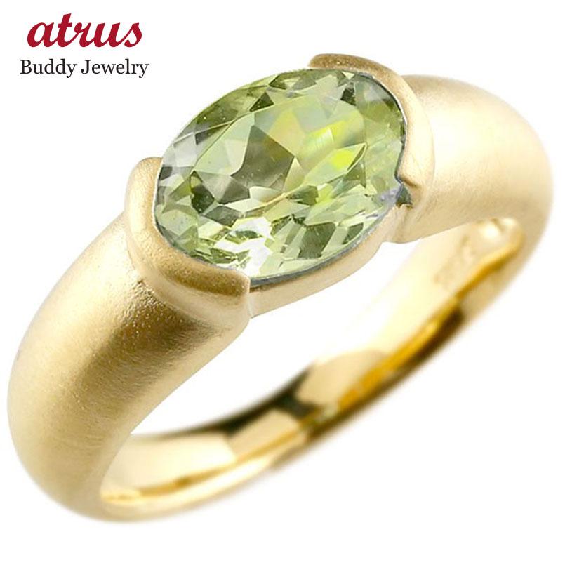 大粒の鮮やかな天然石リング メンズ ピンキーリング イエローゴールドk18 大粒 一粒 ペリドット リング ピンキーリング 18金 指輪 婚約指輪 エンゲージリング 送料無料