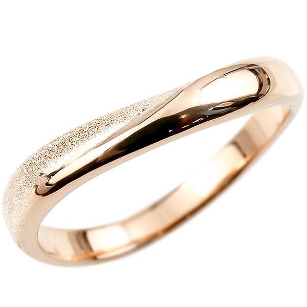 メンズ 指輪 リング ピンクゴールドk18 婚約指輪 ピンキーリング 18金 k18 スターダスト仕上げ 地金 緩やかなV字 送料無料 父の日