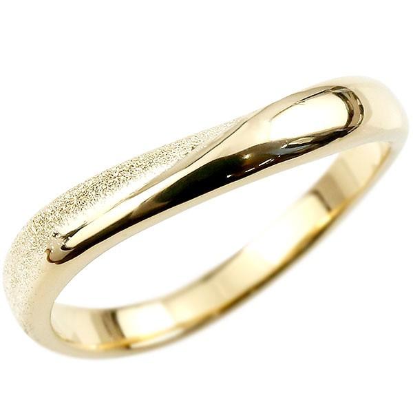 人気のメンズ 手作り 工房直販 メンズ 指輪 リング イエローゴールドk18 婚約指輪 ピンキーリング 18金 k18 スターダスト仕上げ 地金 緩やかなV字 送料無料