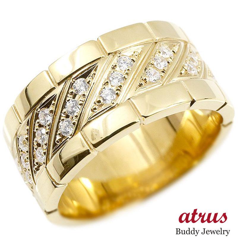 メンズ リング ダイヤモンド イエローゴールドk10 幅広 指輪 リング ダイヤ 10金 ピンキーリング 男性用 送料無料