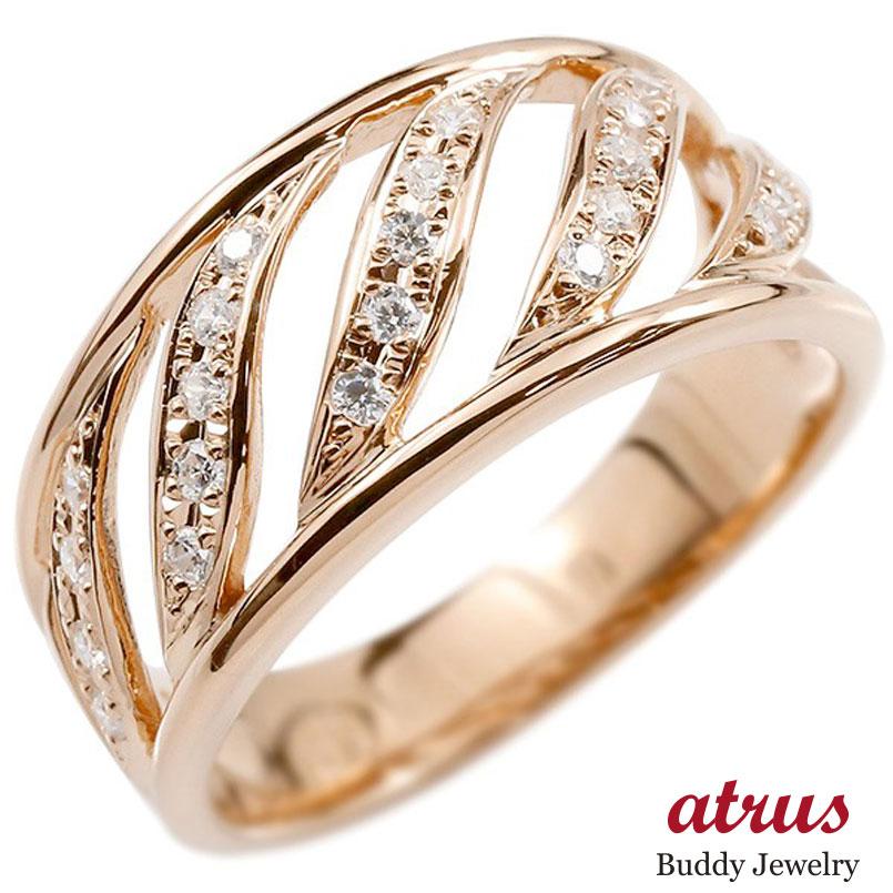 しっかりした幅広リング メンズ リング ピンクゴールドk10 ダイヤモンド 幅広 指輪 リング ダイヤ 10金 ピンキーリング 男性用 送料無料
