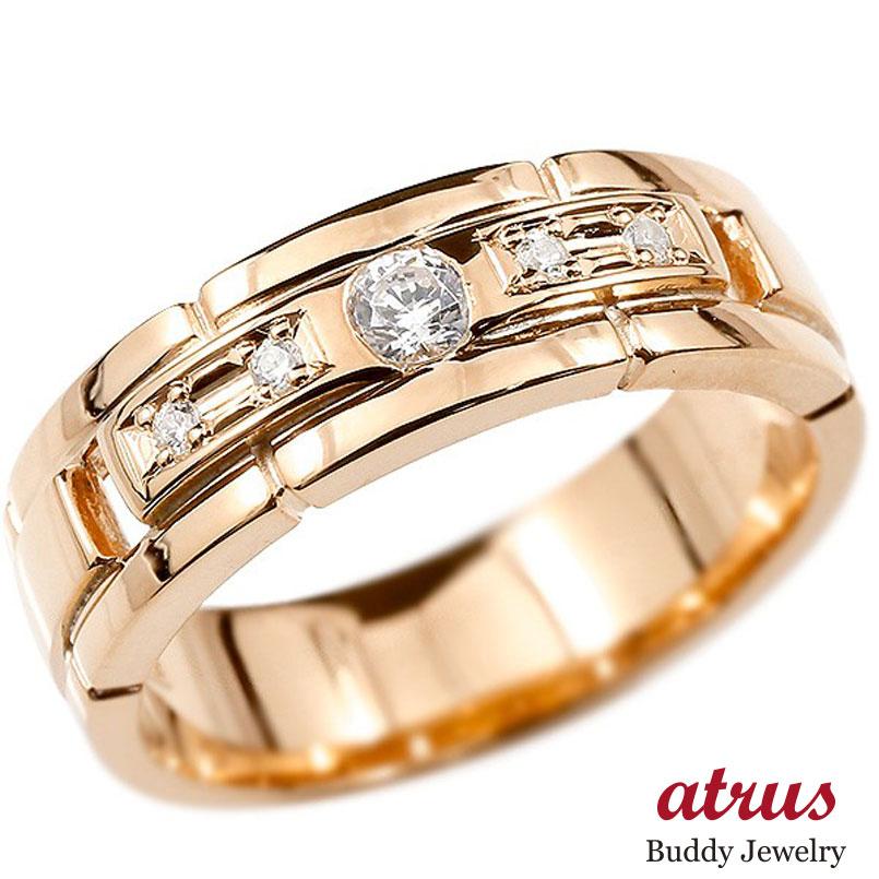 ボリューム感存在感ともに抜群 キュービックジルコニアリング メンズ リング ピンクゴールドk10 キュービックジルコニア エンゲージリング 指輪 幅広 ピンキーリング 10金 宝石 男性用 ストレート 送料無料