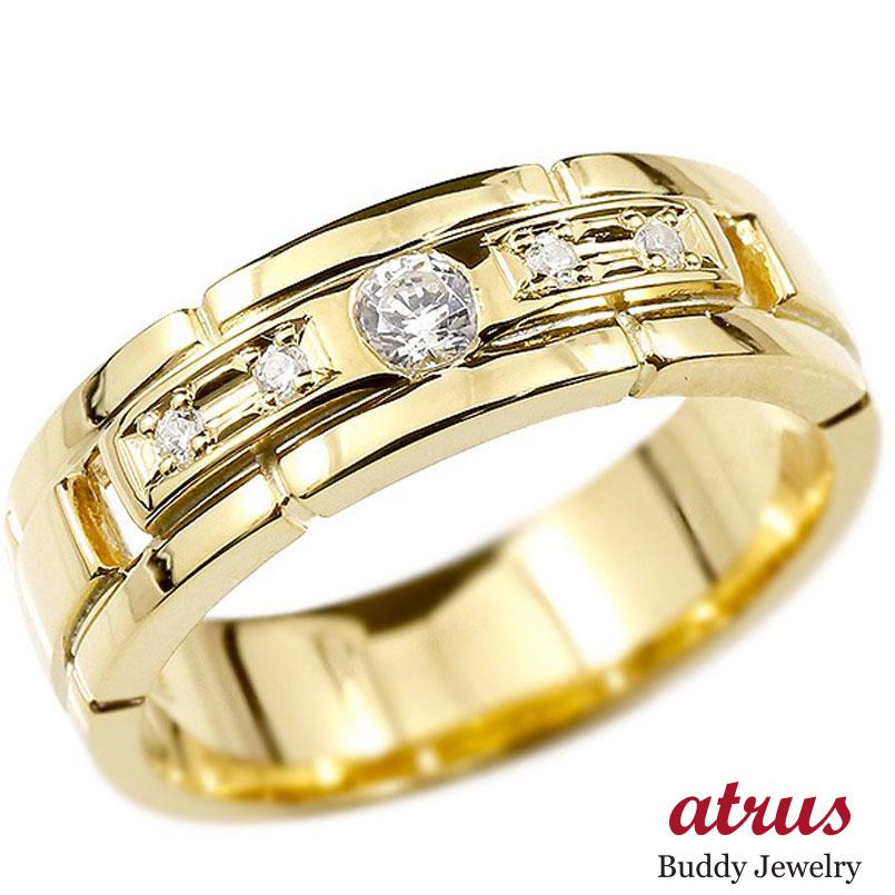 メンズ リング イエローゴールドk18 ダイヤモンド エンゲージリング ダイヤ 指輪 幅広 ピンキーリング 18金 宝石 男性用 ストレート 送料無料 父の日