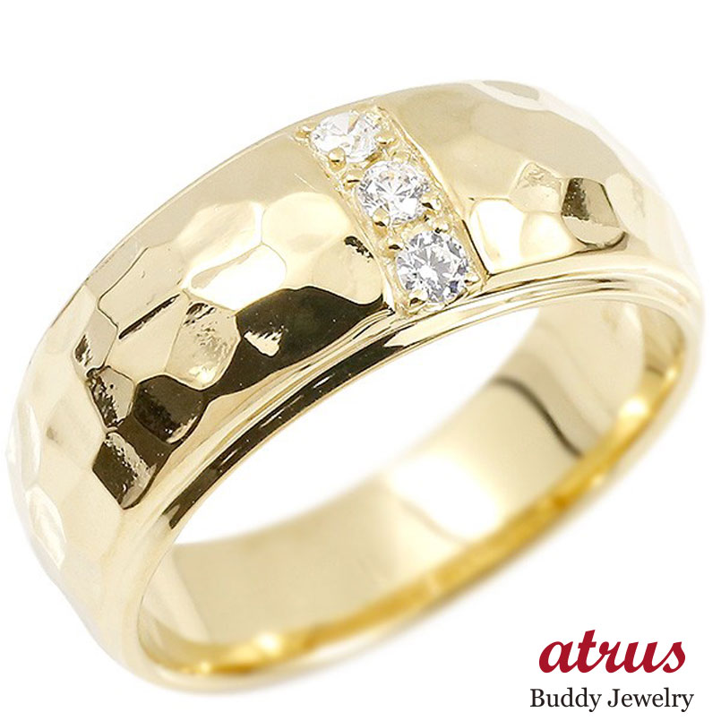 メンズ リング ダイヤモンド イエローゴールドk10 幅広 槌目 槌打ち ロック仕上げ 指輪 リング ダイヤ 10金 男性用 ピンキーリング 送料無料 父の日