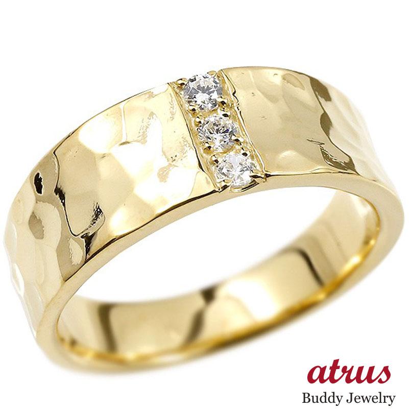 メンズジュエリー ロック仕上げ 指輪 メンズ リング ダイヤモンド イエローゴールドk10 幅広 槌目 槌打ち ロック仕上げ 指輪 リング ダイヤ 10金 男性用 平角 ピンキーリング 送料無料