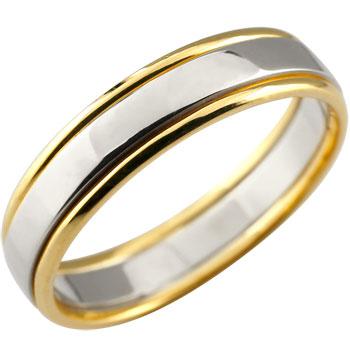 メンズジュエリー 指輪 プラチナ シンプル 送料無料 手作り 人気 メンズ プラチナ リング 指輪 ピンキーリング イエローゴールドk18 コンビ 地金リング 宝石なし 18金ストレート 男性用 送料無料