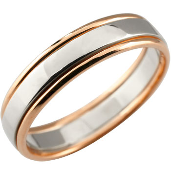 メンズジュエリー 指輪 プラチナ シンプル 送料無料 手作り 人気 メンズ プラチナ リング 指輪 ピンキーリング ピンクゴールドk18 コンビ 地金リング 宝石なし 18金ストレート 男性用 送料無料