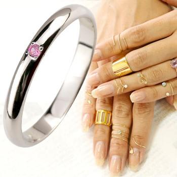 メンズリング ファランジリング ピンクサファイア ミディリング リング ホワイトゴールドk18 指輪 ピンキーリング 甲丸 9月誕生石 人気 18金 ストレート 2.3