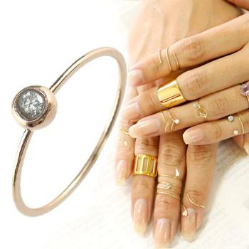メンズリング ファランジリング ダイヤモンド ミディリング ピンクゴールドk18 関節リング 指輪 華奢 一粒 ダイヤ 人気 18金 ダイヤ ストレート 送料無料