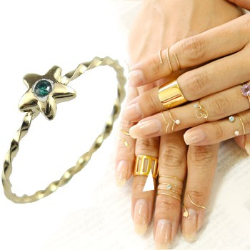 メンズリング ファランジリング ブルーダイヤモンド ミディリング 星 スター 一粒 イエローゴールドk18 関節リング 指輪 華奢 人気 18金 ダイヤ ストレート