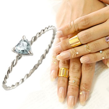 メンズリング ファランジリング ハート アクアマリン ミディリング ホワイトゴールドk18 関節リング 指輪 華奢 3月誕生石 人気 18金 ストレート 宝石