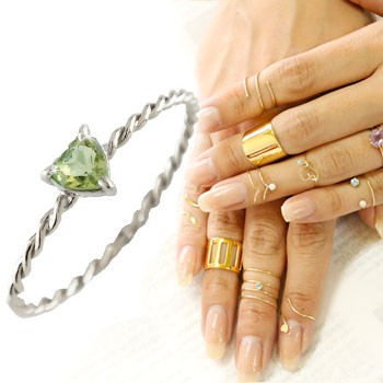 メンズリング ファランジリング ハート ペリドット ミディリング ホワイトゴールドk18 関節リング 指輪 華奢 8月誕生石 人気 18金 ストレート 宝石