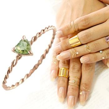 メンズリング ファランジリング ハート ペリドット ミディリング ピンクゴールドk18 関節リング 指輪 華奢 8月誕生石 人気 18金 ストレート 宝石