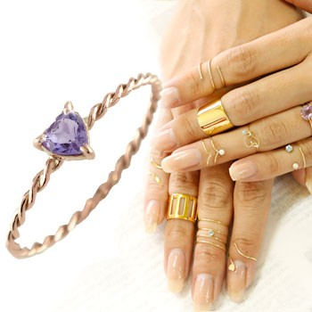 メンズリング ファランジリング ハート アメジスト ミディリング ピンクゴールドk18 関節リング 指輪 華奢 2月誕生石 人気 18金 ストレート 宝石
