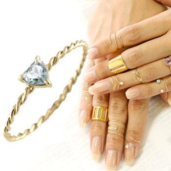メンズリング ファランジリング ハート アクアマリン ミディリング イエローゴールドk18 関節リング 指輪 華奢 3月誕生石 人気 18金 ストレート 宝石