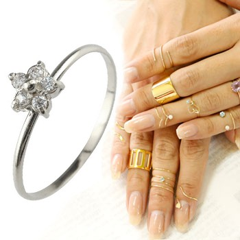 メンズリング ファランジリング ダイヤモンド ミディリング フラワーモチーフ ホワイトゴールドk18 関節リング 指輪 華奢 人気 18金 ダイヤ ストレート