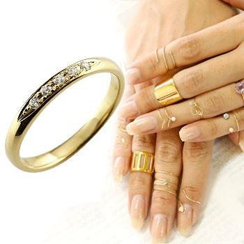 メンズリング ファランジリング ダイヤモンド ミディリング 関節リング 指輪 ピンキーリング 甲丸リング イエローゴールドk18 18金 ダイヤ ストレート