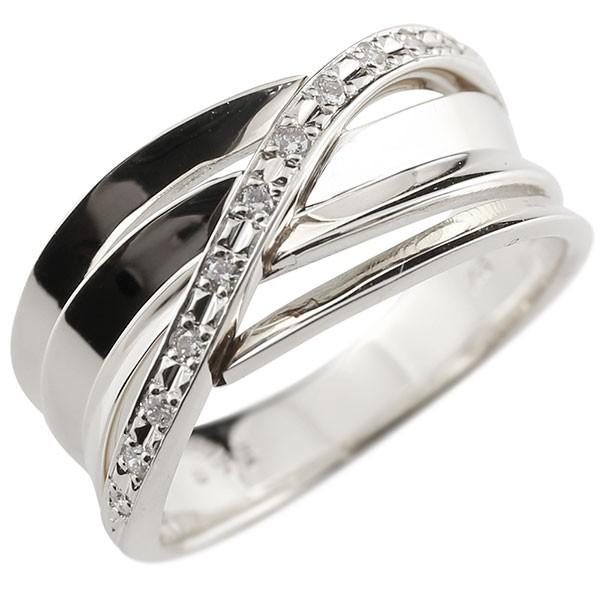 メンズリング ダイヤモンド リング 透かし ホワイトゴールドk18 ピンキーリング 18金 指輪 指輪 ダイヤ 送料無料