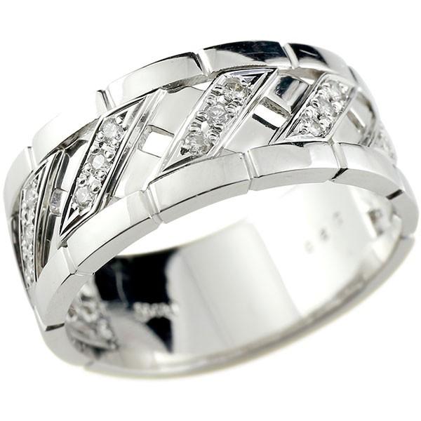 しっかりした幅広リング 18金 新品 リング メンズ ダイヤモンド ホワイトゴールドk18 の ピンキーリング 指輪 送料無料 ダイヤ 新作 18k