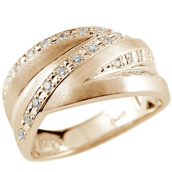 メンズリング ダイヤモンド リング ピンクゴールドk18 ピンキーリング ホーニング加工 つや消し 18金 指輪 指輪 ダイヤ 送料無料