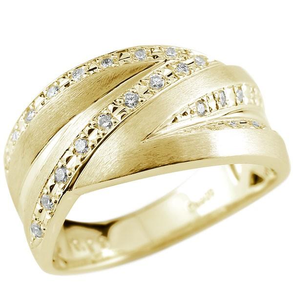 メンズリング ダイヤモンド リング イエローゴールドk18 ピンキーリング ホーニング加工 つや消し 18金 指輪 指輪 ダイヤ 送料無料