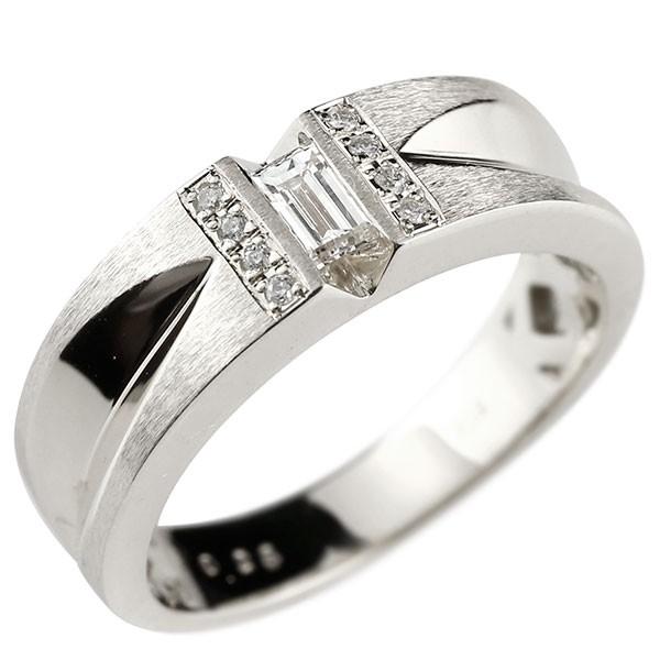 メンズリング ダイヤモンド バケットダイヤモンド リング ホワイトゴールドk18 ピンキーリング 18金 指輪 指輪 ダイヤ 送料無料