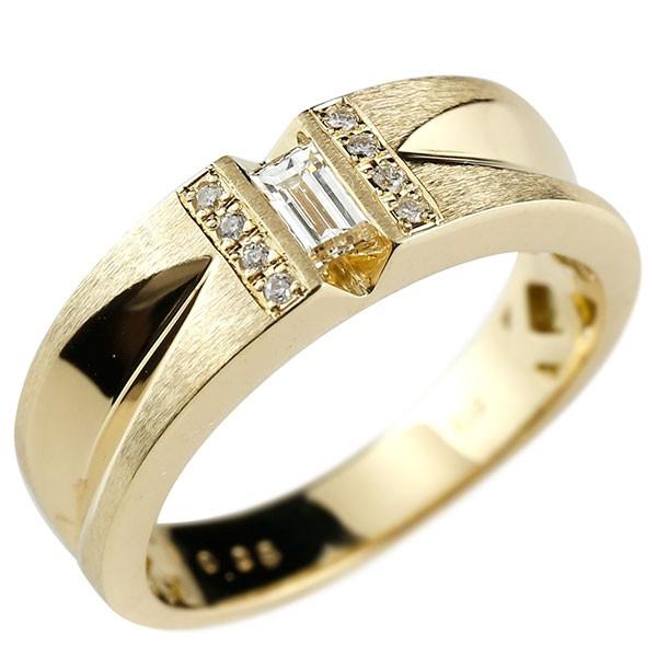メンズリング ダイヤモンド バケットダイヤモンド リング イエローゴールドk18 ピンキーリング 18金 指輪 指輪 ダイヤ 送料無料