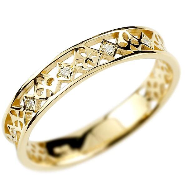 メンズ リング イエローゴールドk10 ダイヤモンド ピンキーリング ダイヤ 指輪 透かし 男性用 10金 宝石 送料無料