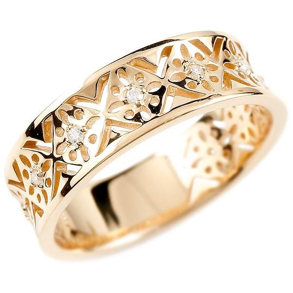 端正な透かし文様が美しい ダイヤモンドリング メンズ リング ピンクゴールドk10 ダイヤモンド ピンキーリング 幅広 ダイヤ 指輪 透かし 男性用 10金 宝石 送料無料
