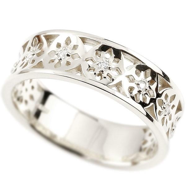 メンズ プラチナリング ダイヤモンド ピンキーリング 幅広 ダイヤ 指輪 透かし 男性用 pt950 宝石 送料無料