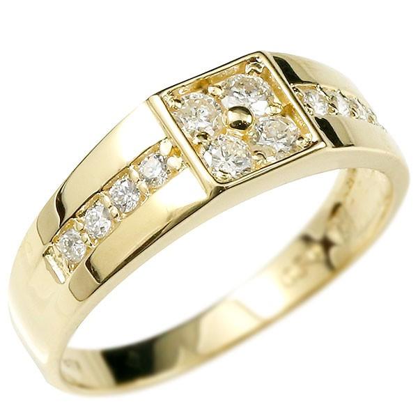 メンズ リング ダイヤモンド イエローゴールドk18 幅広 指輪 ピンキーリング ダイヤ 18金 宝石 男性用 送料無料 父の日