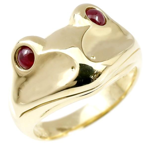 メンズ リング ルビー カエル イエローゴールドk18 幅広 指輪 18金 男性用 ピンキーリング かえる 蛙 宝石 人気 送料無料