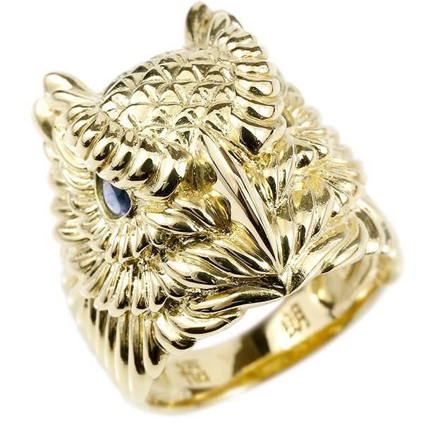 メンズ リング サファイア ふくろう イエローゴールドk18 幅広 指輪 18金 男性用 ピンキーリング フクロウ 梟 宝石 人気 送料無料