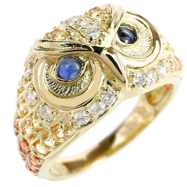 メンズ リング サファイア ダイヤモンド ふくろう イエローゴールドk18 幅広 指輪 18金 男性用 ピンキーリング フクロウ 梟 宝石 人気 送料無料
